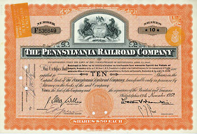 Photograph - 10 Shares Of Pennsylvania Railroad Stock - Small Size by Paul W Faust - Impressions of Light