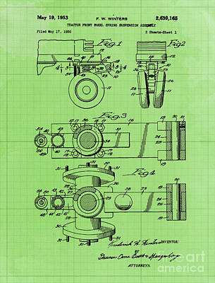 Royalty-Free and Rights-Managed Images - Tractor Front Wheel Spring Suspension Assembly Patent Year 1953 by Drawspots Illustrations