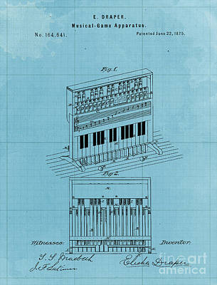 Musicians Drawings - Vintage Musical Game Apparatus Patent Year 1875 by Drawspots Illustrations