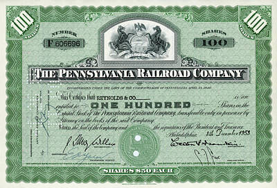 Photograph - 100 Shares Of Pennsylvania Railroad Stock - Small Size by Paul W Faust - Impressions of Light