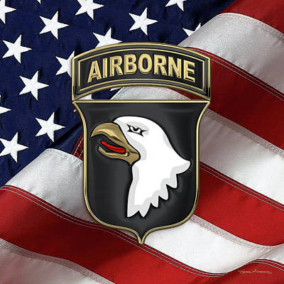Digital Art - 101st Airborne Division - 101st  A B N  Insignia Over American Flag  by Serge Averbukh