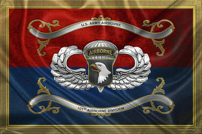 Digital Art - 101st Airborne Division - 101st  A B N  Insignia With Parachutist Badge Over Flag by Serge Averbukh