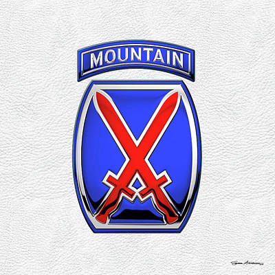Digital Art - 10th Mountain Division -  10th   M T N  Insignia Over White Leather by Serge Averbukh