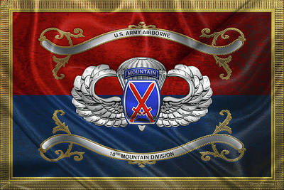Digital Art - 10th Mountain Division -  10th   M T N  Insignia With Parachutist Badge Over Flag by Serge Averbukh