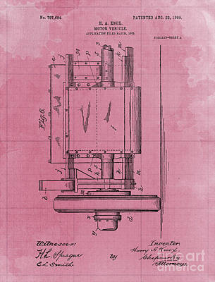 Royalty-Free and Rights-Managed Images - Motor Vehicle Patent 1905 Blueprint by Drawspots Illustrations