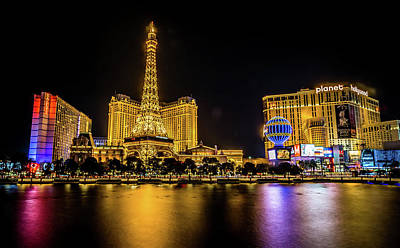 Photograph - Nigh Life And City Skyline In Las Vegas Nevada by Alex Grichenko