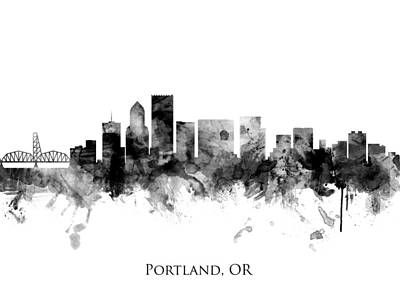 Digital Art - Portland Oregon Skyline by Michael Tompsett