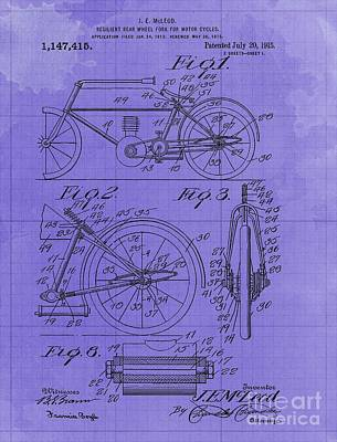 Royalty-Free and Rights-Managed Images - Resilent Rear Wheel Fork For Motor Cycles Patent Year 1915 Motorcycle Blueprint by Drawspots Illustrations