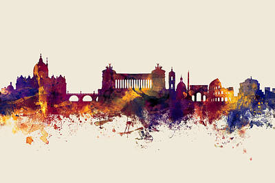Rome Wall Art - Digital Art - Rome Italy Skyline by Michael Tompsett