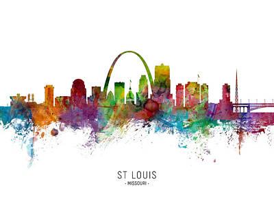 Digital Art - St Louis Missouri Skyline by Michael Tompsett