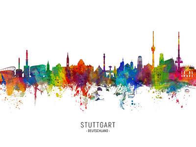 Digital Art - Stuttgart Germany Skyline by Michael Tompsett