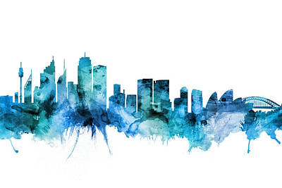 Digital Art - Sydney Australia Skyline by Michael Tompsett