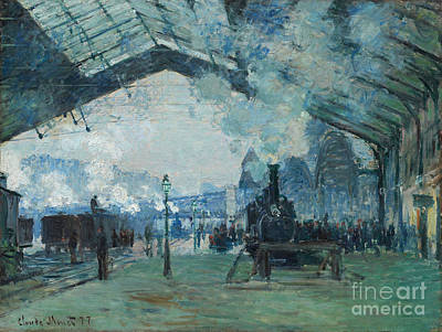 Digital Art - Arrival Of The Normandy Train, Gare Saint-lazare by Claude Monet