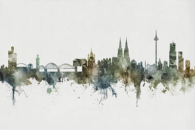 Digital Art - Cologne Germany Skyline by Michael Tompsett