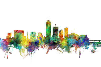 Digital Art - Indianapolis Indiana Skyline by Michael Tompsett