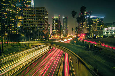 Photograph - Los Angeles California City Downtown At Night by Alex Grichenko