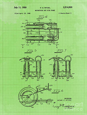 Royalty-Free and Rights-Managed Images - Motorcycle and Side Frame Patent Year 1946 by Drawspots Illustrations