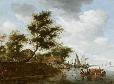 Painting - River Landscape With Ferry by Salomon van Ruysdael