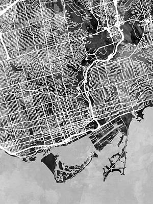 Digital Art - Toronto Street Map by Michael Tompsett