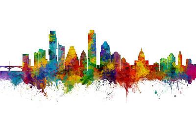 Digital Art - Austin Texas Skyline by Michael Tompsett