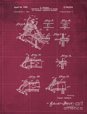 Royalty-Free and Rights-Managed Images - Carburetor and Carburetion System for Internal Combustion Engines Patent Year 1955 by Drawspots Illustrations