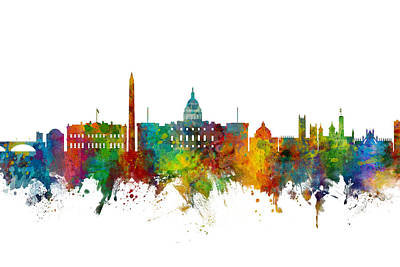 Digital Art - Washington Dc Skyline by Michael Tompsett
