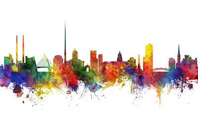 Digital Art - Dublin Ireland Skyline by Michael Tompsett