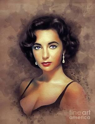 Actors Paintings - Elizabeth Taylor, Vintage Movie Star by John Springfield