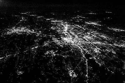 Photograph - Flying At Night Over Cities Below by Alex Grichenko