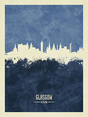 Digital Art - Glasgow Scotland Skyline by Michael Tompsett