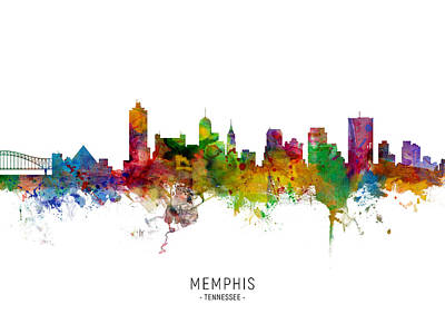 Digital Art - Memphis Tennessee Skyline by Michael Tompsett