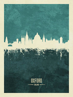 Digital Art - Oxford England Skyline by Michael Tompsett