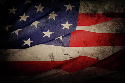 Photograph - Grunge American Flag by Les Cunliffe