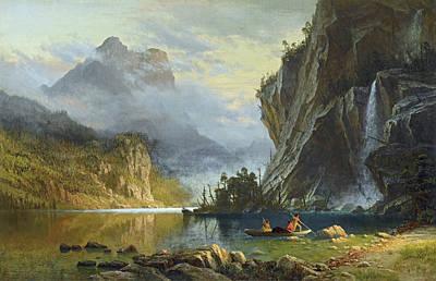 Painting - Indians Spear Fishing by Albert Bierstadt