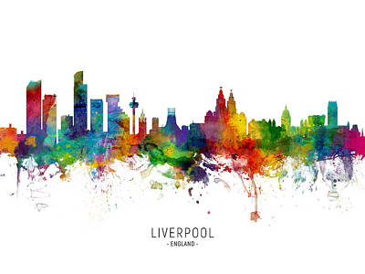 Digital Art - Liverpool England Skyline by Michael Tompsett