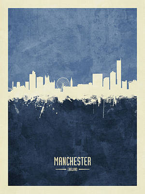 Digital Art - Manchester England Skyline by Michael Tompsett