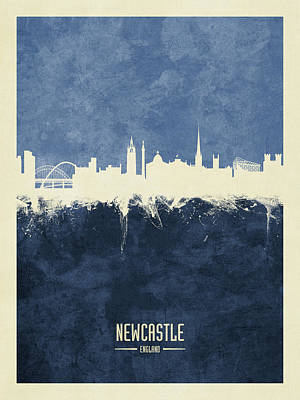 Digital Art - Newcastle England Skyline by Michael Tompsett