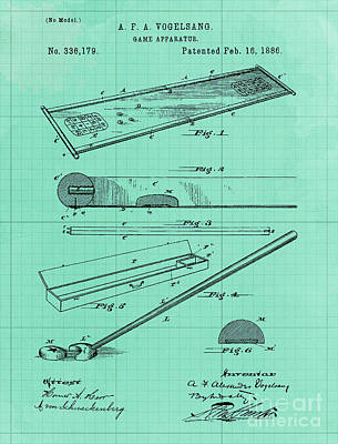 Royalty-Free and Rights-Managed Images - Vintage Game Apparatus Patent Year 1886 by Drawspots Illustrations