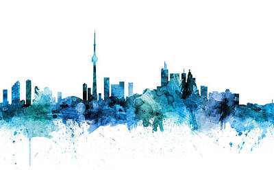 Digital Art - Toronto Canada Skyline by Michael Tompsett