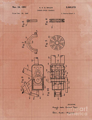 Athletes Drawings - Change Speed Gearbox Patent Year 1953 by Drawspots Illustrations
