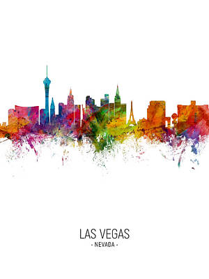 Digital Art - Las Vegas Nevada Skyline by Michael Tompsett