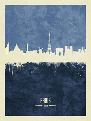 Digital Art - Paris France Skyline by Michael Tompsett