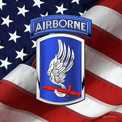 Digital Art - 173rd Airborne Brigade Combat Team - 173rd  A B C T  Insignia Over Flag by Serge Averbukh