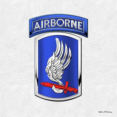 Digital Art - 173rd Airborne Brigade Combat Team - 173rd  A B C T  Insignia Over White Leather by Serge Averbukh
