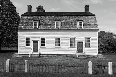 Photograph - 1793 New England Meeting House  -  1793newengmeetinghouseblkwhi184621 by Frank J Benz