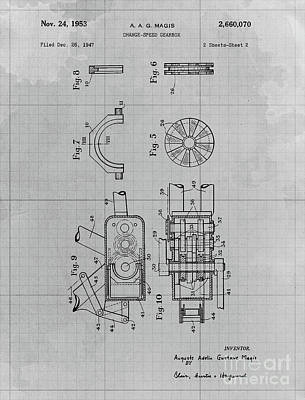 Athletes Royalty-Free and Rights-Managed Images - Change Speed Gearbox Patent Year 1953 by Drawspots Illustrations