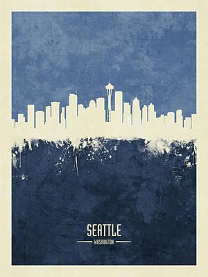 Seattle Skyline Wall Art - Digital Art - Seattle Washington Skyline by Michael Tompsett