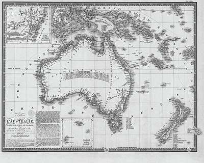 Digital Art - 1826 Map Of Australia Au Black And White by Toby McGuire