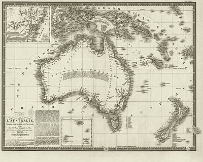 Digital Art - 1826 Map Of Australia Au Sepia by Toby McGuire