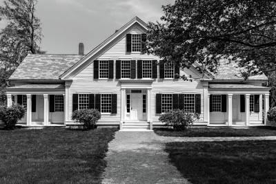 Photograph - 1832 Greek Revival Style New England House  -  1832negreekrevivalstylehomeblkwhi185678 by Frank J Benz
